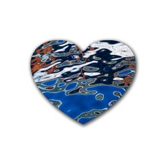 Colorful Reflections In Water Rubber Coaster (Heart)