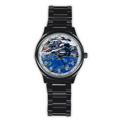 Colorful Reflections In Water Stainless Steel Round Watch