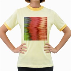 Rectangle Abstract Background In Pink Hues Women s Fitted Ringer T Shirts