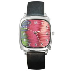 Rectangle Abstract Background In Pink Hues Square Metal Watch