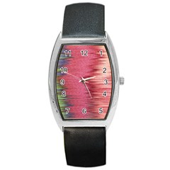 Rectangle Abstract Background In Pink Hues Barrel Style Metal Watch