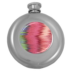 Rectangle Abstract Background In Pink Hues Round Hip Flask (5 oz)
