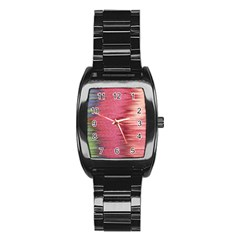 Rectangle Abstract Background In Pink Hues Stainless Steel Barrel Watch