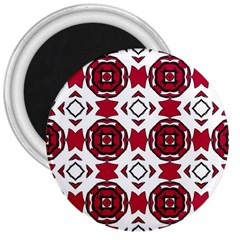 Seamless Abstract Pattern With Red Elements Background 3  Magnets
