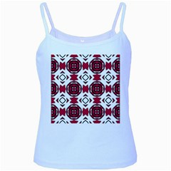 Seamless Abstract Pattern With Red Elements Background Baby Blue Spaghetti Tank