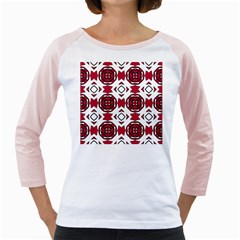 Seamless Abstract Pattern With Red Elements Background Girly Raglans