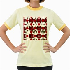 Seamless Abstract Pattern With Red Elements Background Women s Fitted Ringer T-Shirts