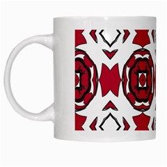 Seamless Abstract Pattern With Red Elements Background White Mugs