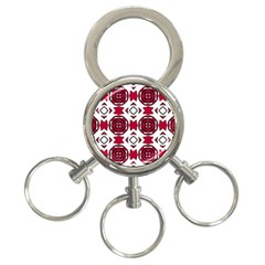 Seamless Abstract Pattern With Red Elements Background 3 Ring Key Chains