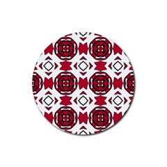 Seamless Abstract Pattern With Red Elements Background Rubber Round Coaster (4 pack)