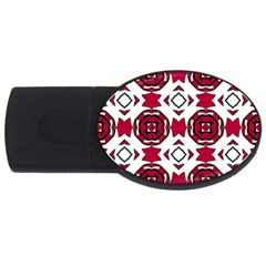 Seamless Abstract Pattern With Red Elements Background USB Flash Drive Oval (1 GB)