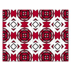 Seamless Abstract Pattern With Red Elements Background Rectangular Jigsaw Puzzl