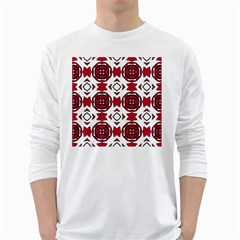 Seamless Abstract Pattern With Red Elements Background White Long Sleeve T-Shirts