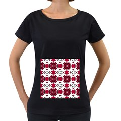 Seamless Abstract Pattern With Red Elements Background Women s Loose Fit T Shirt (black)