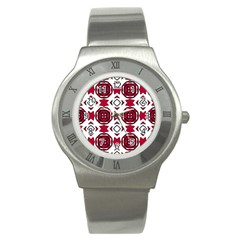 Seamless Abstract Pattern With Red Elements Background Stainless Steel Watch