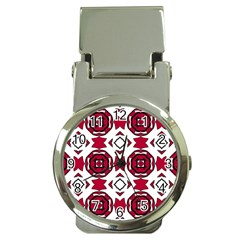Seamless Abstract Pattern With Red Elements Background Money Clip Watches