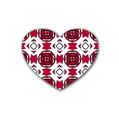 Seamless Abstract Pattern With Red Elements Background Rubber Coaster (Heart)