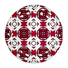Seamless Abstract Pattern With Red Elements Background Ornament (round Filigree)