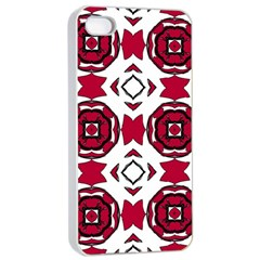 Seamless Abstract Pattern With Red Elements Background Apple Iphone 4/4s Seamless Case (white)