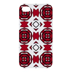 Seamless Abstract Pattern With Red Elements Background Apple iPhone 4/4S Hardshell Case
