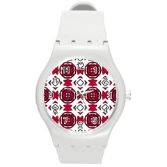 Seamless Abstract Pattern With Red Elements Background Round Plastic Sport Watch (m)
