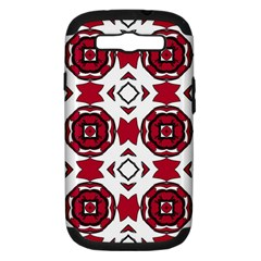 Seamless Abstract Pattern With Red Elements Background Samsung Galaxy S III Hardshell Case (PC+Silicone)