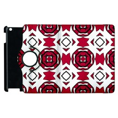 Seamless Abstract Pattern With Red Elements Background Apple iPad 3/4 Flip 360 Case