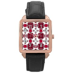 Seamless Abstract Pattern With Red Elements Background Rose Gold Leather Watch