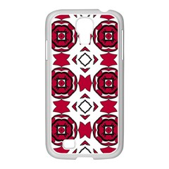 Seamless Abstract Pattern With Red Elements Background Samsung GALAXY S4 I9500/ I9505 Case (White)