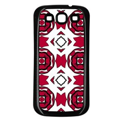 Seamless Abstract Pattern With Red Elements Background Samsung Galaxy S3 Back Case (black)
