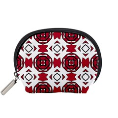 Seamless Abstract Pattern With Red Elements Background Accessory Pouches (small)