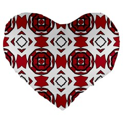 Seamless Abstract Pattern With Red Elements Background Large 19  Premium Flano Heart Shape Cushions