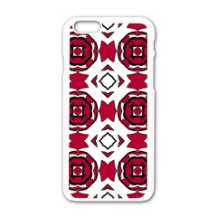 Seamless Abstract Pattern With Red Elements Background Apple Iphone 6/6s White Enamel Case