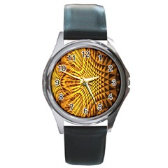 Patterned Wallpapers Round Metal Watch