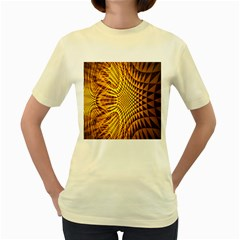 Patterned Wallpapers Women s Yellow T Shirt