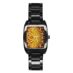 Patterned Wallpapers Stainless Steel Barrel Watch