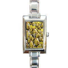 Melting Gold Drops Brighten Version Abstract Pattern Revised Edition Rectangle Italian Charm Watch