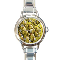 Melting Gold Drops Brighten Version Abstract Pattern Revised Edition Round Italian Charm Watch