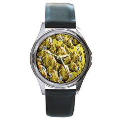 Melting Gold Drops Brighten Version Abstract Pattern Revised Edition Round Metal Watch