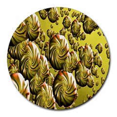 Melting Gold Drops Brighten Version Abstract Pattern Revised Edition Round Mousepads