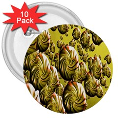 Melting Gold Drops Brighten Version Abstract Pattern Revised Edition 3  Buttons (10 pack)