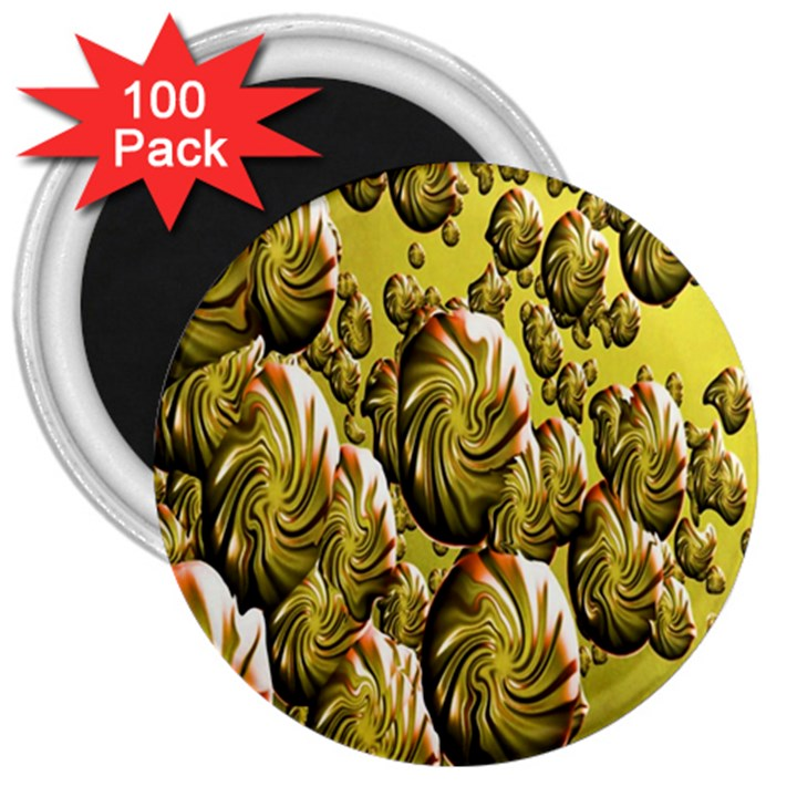 Melting Gold Drops Brighten Version Abstract Pattern Revised Edition 3  Magnets (100 pack)