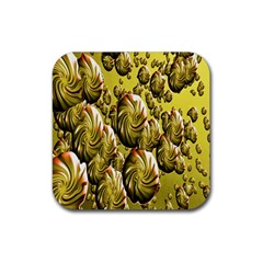 Melting Gold Drops Brighten Version Abstract Pattern Revised Edition Rubber Square Coaster (4 Pack)