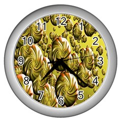 Melting Gold Drops Brighten Version Abstract Pattern Revised Edition Wall Clocks (silver)