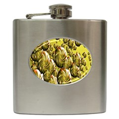 Melting Gold Drops Brighten Version Abstract Pattern Revised Edition Hip Flask (6 oz)