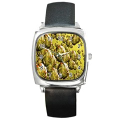 Melting Gold Drops Brighten Version Abstract Pattern Revised Edition Square Metal Watch
