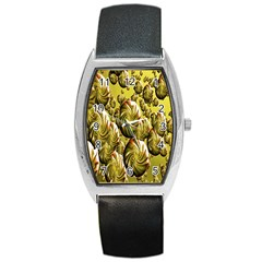 Melting Gold Drops Brighten Version Abstract Pattern Revised Edition Barrel Style Metal Watch
