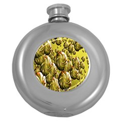 Melting Gold Drops Brighten Version Abstract Pattern Revised Edition Round Hip Flask (5 oz)
