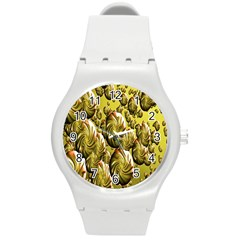 Melting Gold Drops Brighten Version Abstract Pattern Revised Edition Round Plastic Sport Watch (m)