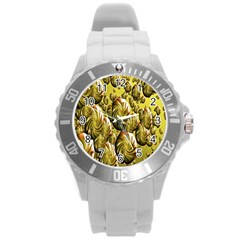 Melting Gold Drops Brighten Version Abstract Pattern Revised Edition Round Plastic Sport Watch (l)